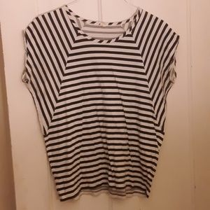 J.Crew med black and white striped top
